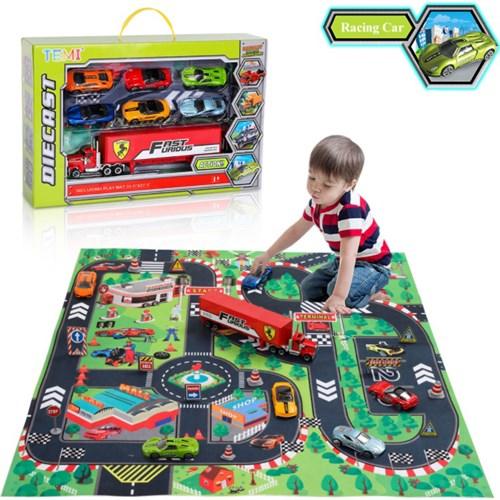 Игровой набор 6 гоночных машинок и грузовик Diecast купить