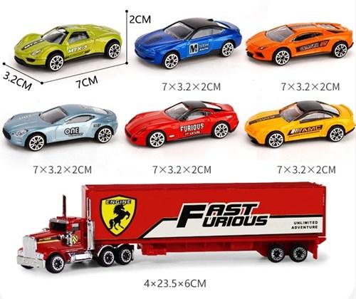 Игровой набор 6 гоночных машинок и грузовик Diecast купить в Москве