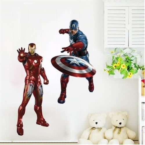 Интерьерная наклейка Железный Человек и капитан Америка ...