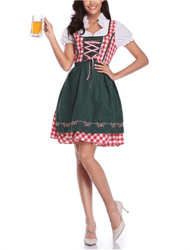 Купить Баварское платье для Октоберфеста (красное с зеленым) в Москве