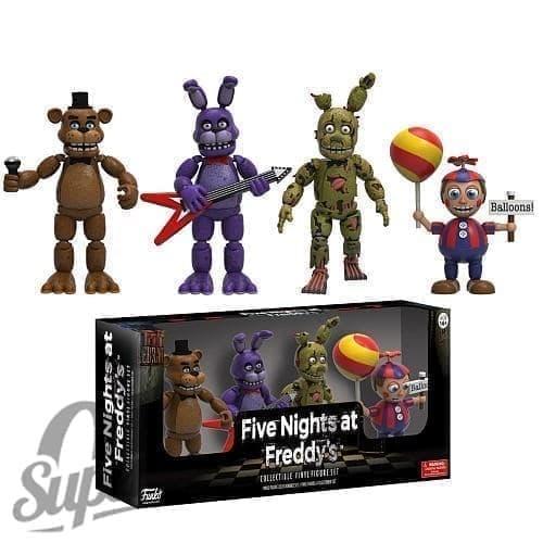 Комплект игрушек №2 - 4 фигурки по 5 см (спрингтрап, фредди, бонни, мальчик с шариками) - фото 6999