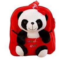 Детский плюшевый рюкзак с игрушкой Панда (красный) купить с доставкой