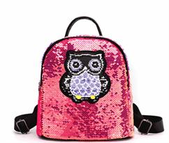 Рюкзак с пайетками Сова (розовый) купить в России