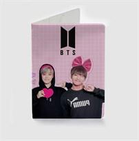 Розовая обложка для паспорта BTS (БТС) купить