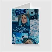 Синяя обложка для паспорта Билли Айлиш (Billie Eilish) купить