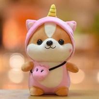 Мягкая игрушка Шиба Ину в костюме единорога 25см