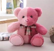 Плюшевый розово-красный медведь 30 см