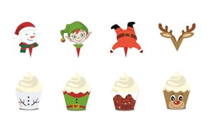 Набор Рождественские украшения для кексов купить в России с доставкой
