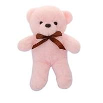 Плюшевый розовый медведь с бантиком 29 см купить в России