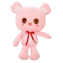 Плюшевый розовый медведь-подушка 35 см купить в Москве