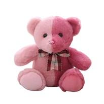 Плюшевый розово-красный медведь 30 см купить в России