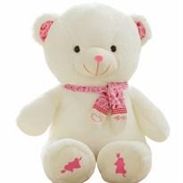 Большой плюшевый белый медведь с розовым шарфом 100 см купить в России