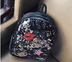 Рюкзак с пайетками (черный - белый) купить в Москве