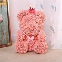 Мишка из роз 40 см (Розовый) в Москве