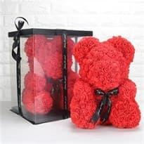 Мишка из роз 40 см (Красный) купить в Москве