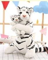 Плюшевая белая тигрица с тигренком 48 см купить
