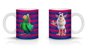 Кружка с домовенком Буба и попугаем Гуга на полосатом фоне купить