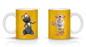 Кружка с Бубой и крысой Лулой на золотом фоне