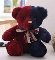 Плюшевый красно-синий медведь 30 см купить