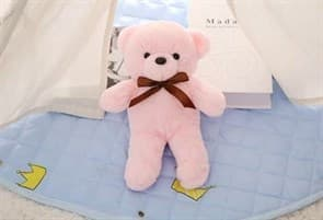 Плюшевый розовый медведь с бантиком 32 см купить