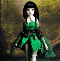 кукла bjd в зелёном платье купить