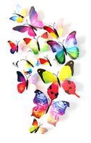 Интерьерная наклейка 3D Радужные Бабочки купить