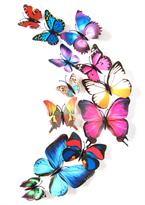 Интерьерная наклейка 3D Разноцветные Бабочки купить