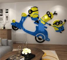 Интерьерная наклейка Миньоны на скутере (58 x 90 см) купить
