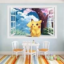 Интерьерная наклейка Пикачу возле сакуры (60 x 90) купить