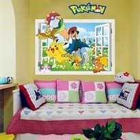 Интерьерная наклейка Эш и Покемоны  (52 x 58) купить