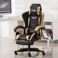 Черно-золотое киберспортивное кресло с откидной спинкой