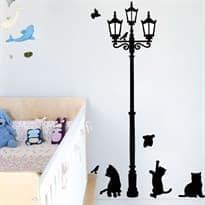 Интерьерная наклейка уличный фонарь и кошки купить в москве