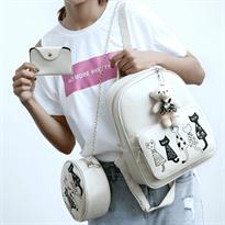 Рюкзак с котиками, кошелек и сумка в наборе