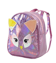 Заказать маленький блестящий розовый рюкзак сова с доставкой