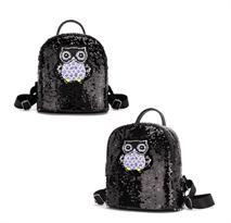 Черный рюкзак с пайетками Сова купить