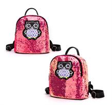 Розовый рюкзак с пайетками Сова купить