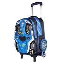 Школьный 3D рюкзак на колесах Гоночная машина (Цвет Голубой) купить