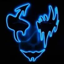 Светящаяся маска для Хеллоуина (Цвет Голубой) купить Москва