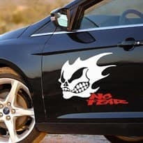3D наклейка на машину Злой призрак (Цвет Белый) купить Москва