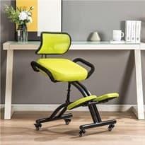 Офисный коленный ортопедический стул на колесиках с подлокотниками и спинкой (Цвет Лимонный) купить