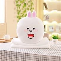 Плюшевая подушка с пледом Кони из мультфильма Line Friends купить Москва