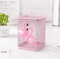 Квадратный стакан для ручек с Фламинго купить в Москве