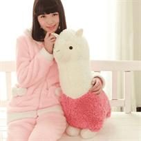 Плюшевая бело-розовая альпака (45 см) купить