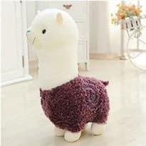 Плюшевая бело-фиолетовая альпака (45 см) купить