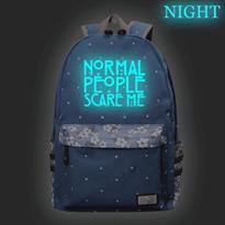 Синий рюкзак со светящейся надписью Normal People Scare Me (Американская история ужасов) купить в Москве