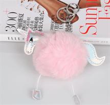 Розовый меховый брелок Единорог купить в Москве