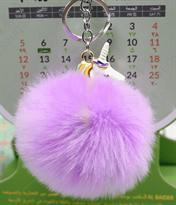Фиолетовый меховый брелок Единорог с золотистым кольцом