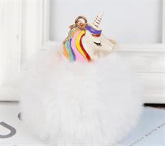 Белый меховый брелок Единорог с золотистым кольцом купить в Москве