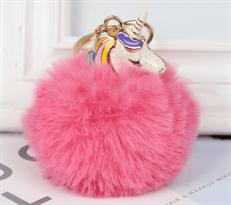 Розовый меховый брелок Единорог с золотистым кольцом купить в Москве