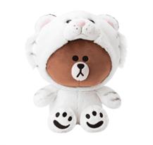 Плюшевая игрушка Браун в костюме белого тигра (Brown Line Friends) 23 см купить